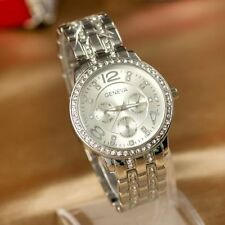 Geneva Unisex Stainless Steel & Diamonte Watch - Ass Colours - Brand New