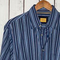 ROBERT TALBOTT CARMEL Fit Men's Button Front Shirt Blue Striped Sz Large