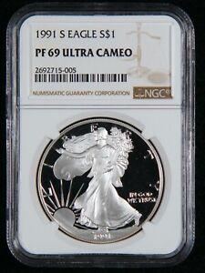 1991-S Silver Eagle S$1 NGC PF 69 Ultra Cameo