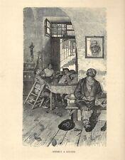 Stampa antica LUGANO osteria ritrovo degli anarchici 1885 Antique print