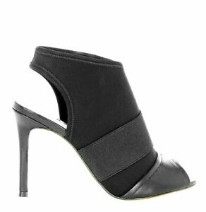 Karen Millen Black Leather Mix Peep Booties Stiletto Shoes Dress Boots 7 40 NEW