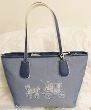 NWT Coach 35337 M Embossed Horse And Carriage Taxi Zip Tote Canvas Denim Chalk