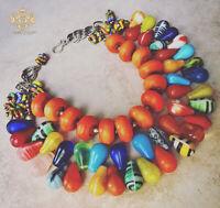 Old African Mali Wedding Beads Jewelry Rainbow Glass Orange Statement Necklace