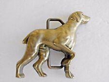 Vintage 1978 Solid Brass Patina Baron Hunting Dog Belt Buckle 6066 2.5 x 3 BBB