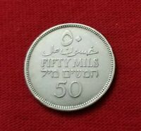 PALESTINE 50 MILS 1935  ISRAEL ARAB RARE AUNC SILVER MONEY MIDDLE 1 COIN