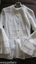 NEW ROBERTO CAVALLI ITALY SIZE 38 CLASSIC DRESS BLOUSE TOP COLOR WHITE SHEER