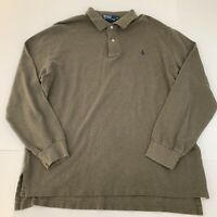 Men's VINTAGE Ralph Lauren Polo Shirt Size XL Brown Green Long Sleeve Rugby