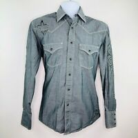 Resistol University Mens Shirt Size Small Gray Embroidered LS Pearl Snap Western