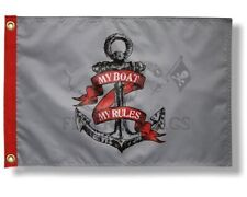 """New Pirate My Boat Rules Anchor 12"""" x 18"""" Two Sided 200denier Flag"""
