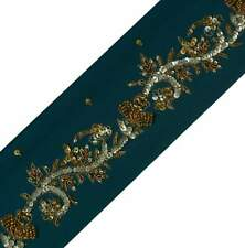 Antique Vintage Sari Border Indian Craft Trim Hand Beaded Teal Lace Ribbon