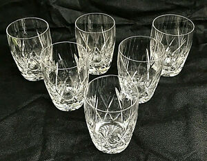 "Set of 6 Beautiful Stuart Crystal ""Ivanhoe"" Barrel Tumbler Glasses"