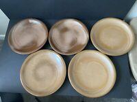 5 brown frankoma 4-f plates