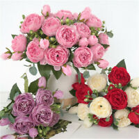 9 Heads Vintage Artificial Fake Peony Silk Flowers Bouquet Fit Party Home Decor