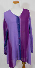 Vintage Purple Button Up 100% Polyester Shirt!! Size XL