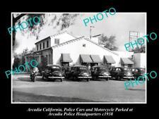 OLD LARGE HISTORIC PHOTO OF ARCADIA POLICE DEPARTMENT H/QUARTERS CALIFORNIA 1938