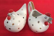 Vintage Lefton China Hand-painted Chicken Polka Dot Sugar and Creamer Set