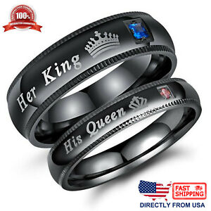 His Queen or Her King Couple's Matching Promise Ring Comfort Fit Wedding Band