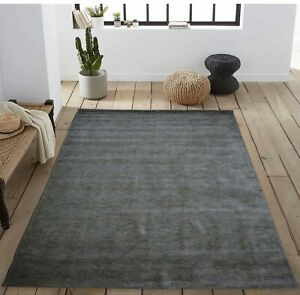 5'6 x 8'6 Rug | Hand Woven Gray Blue Wool & Viscose  Area Rug