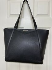 MICHAEL Michael Kors Whitney Large Top Zip Tote Black Pebbled Leather 298$