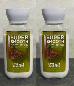 SET OF 2 Bath & Body Works Super Smooth Body Lotion - LOVE & SUNSHINE - 3oz #KJ