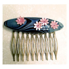 hair comb pin with carved natural blue black agate druzy mother of pearl fowers
