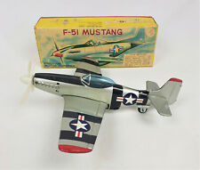 VERY RARE Vintage HTC F-51 Mustang #8378 tin litho friction powered plane IOB