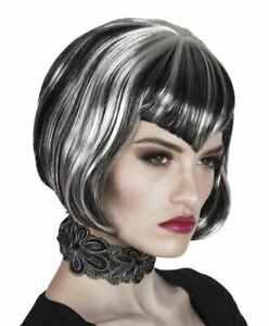 Womens Vampire Wig Halloween Fancy Dress Accessory Black with Grey Streaks
