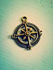6 Compass Charms Pendants Antique Bronze Tone Captain of My Soul Nautical
