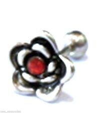 "Gauge 1/4"" 9mm Top Body Jewelry Cartilage/Tragus Ear Flower w/Red Gem 16"