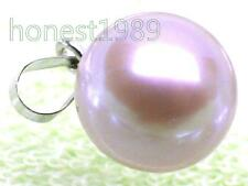 BEAUTIFUL 8mm Round Lavender Pink Akoya Pearl Pendant 18K Solid White Gold