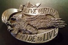 "HEBILLA ""LIVE to RIDE RIDE to LIVE"" - BERGAMOT BRASS - VINTAGE AÑOS 90s - USA"