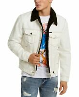 Guess Mens Denim Jacket Classic Light Blue Size XL Sherpa Lining $148- 403