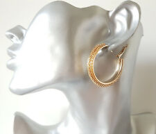Gorgeous 4cm gold tone round chunky tube mesh edge design hoop earrings
