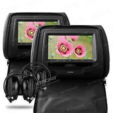 2x 7 Zoll Digital Kopfstütze DVD Player HD Monitor mit 2 IR Kopfhörer SCHWARZ