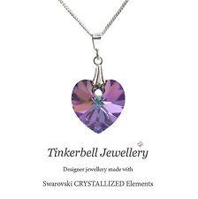 Plata Esterlina 925 Collar Swarovski Elements púrpura Vl Corazón de Cristal Colgante