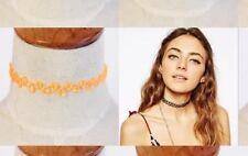 Tattoo Choker Gothic Collier orange Retro Halsband dehnbar elastisch Kette NEU