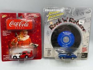 Johnny Lightning Rock N Rollers Chevy Corvette & Coca Cola Dodge Viper Lot