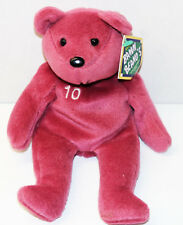 Nwt Salvinos Bamm Beanos Beanie Babies #10 Chipper Jones Plum Teddy Bear 1998