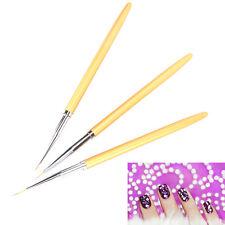 3pcs/set UV Gel Nail Art Brush Polish Painting Pen Kit For Salon Manicure DIY LS