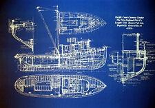 """Boat Plan Alaska Fishing Trawler 1933 Blueprint Drawing 20""""x24"""" (005)"""