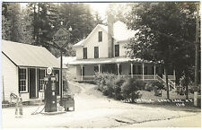 Long Lake NY Sunoco Gas Station Pumps Oil Cans Signs Real Photo RPPC Postcard