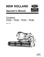 New Holland combinar Tx30 Tx32 Tx34 tx36 Manual del operador