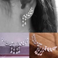 Women Fashion Crystal Rhinestone Leaves Tassel Ear Stud Earrings Wedding Gift