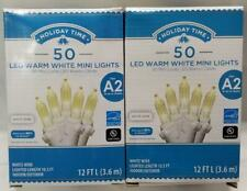Holiday Time WARM WHITE Christmas Lights WHITE Wire 50 ct 12 ft x2 =100 wedding