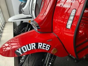 FRONT CURVED REGISTRATION NUMBER PLATES DECAL  ROYAL ALLOY LAMBRETTA SCOMADI