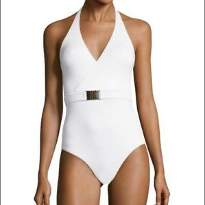 MELISSA ODABASH Dominica Belted Swimsuit in White - Size 8