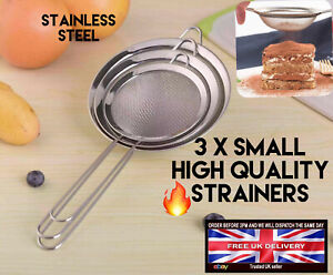 3pc Strainer Quality Stainless Steel mesh colander food tea Small Filter Sieve