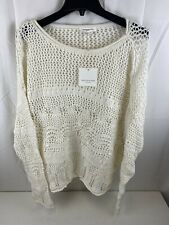 BeachLunchLounge women's open rope knit pullover ivory long sleeve sweater, Med