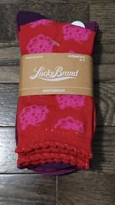 NWT Lucky Brand Women's 3 Pair Pack Boot Socks sz 9-11 Red Purple Pink