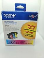 BROTHER LC61CL Genuine Sealed New Tri Color Ink Cartridge  EXP 05/2019